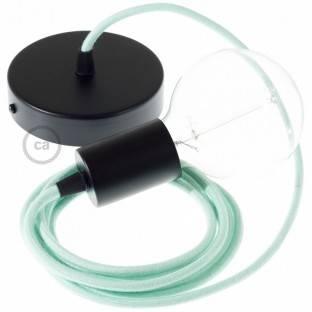 Medinis pakabinamas šviestuvas su jūrinės virvės laidu XL 16mm, dangta juodu blizgančiu audiniu. Pagaminta Italijoje