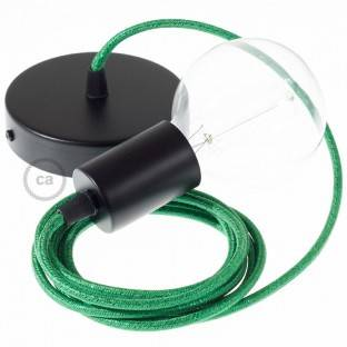 Medinis pakabinamas šviestuvas su jūrinės virvės laidu 2XL 24mm, dengta tamsiai bordo spalvos audiniu. Pagaminta Italijoje