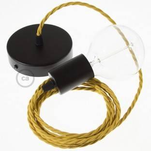 Medinis pakabinamas šviestuvas su jūrinės virvės laidu 3XL 30mm, dengta tamsiai žaliu blizgančiu audiniu. Pagaminta Italijoje