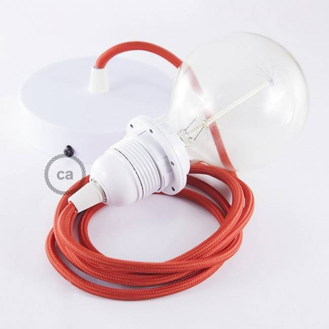 suspended lamp with Red Rayon textile cable RM09 Pendant for lampshade