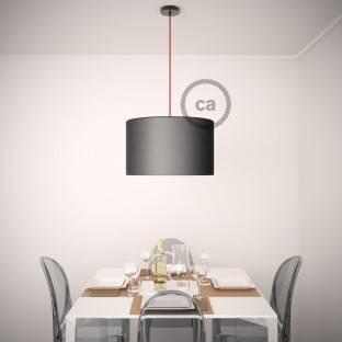Vienos lemputės kabantis šviestuvas su pilku viskozės tekstiliniu laidu RM03