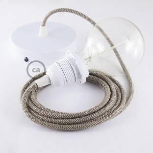 """Vienos lemputės kabantis šviestuvas su ZigZag """"Bark"""" tekstiliniu laidu RD73"""