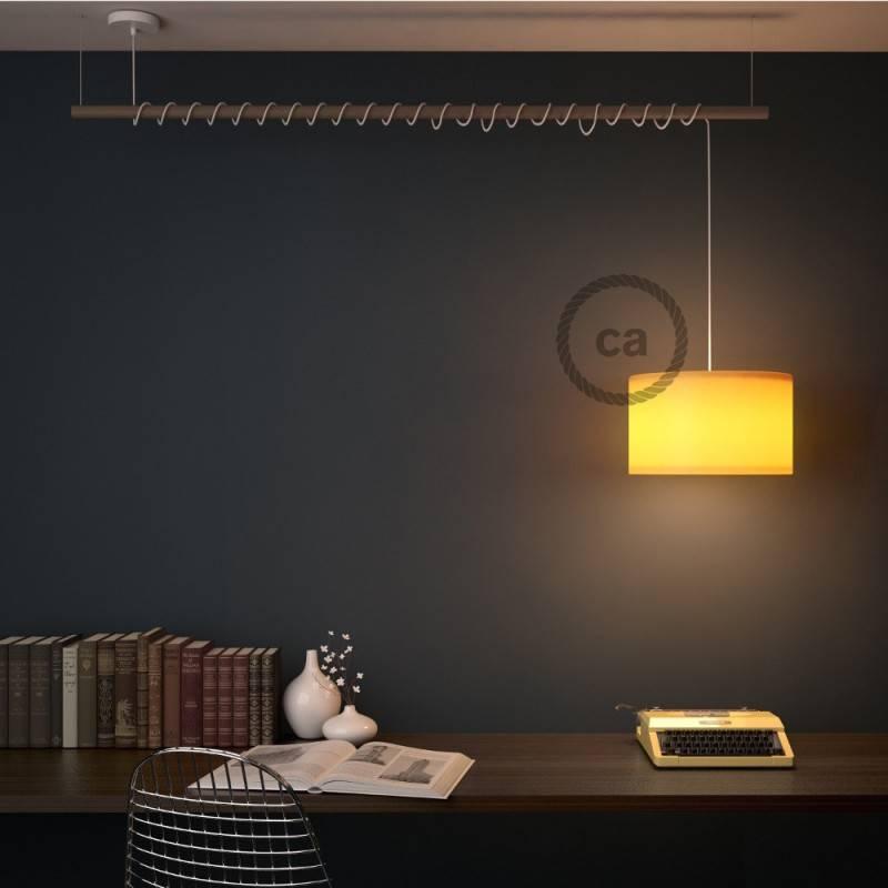 """Fermaluce"" su ""Petrol Blue Cinette"" cilindriniu šviesos gaubtu, balto metalo, Ø 15cm aukštis 18cm, sienoms ar luboms"