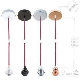 """""""Fermaluce"""" su bordo drobės cilindriniu šviesos gaubtu, juodo metalo, Ø 15cm aukštis 18cm, sienoms ar luboms"""