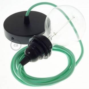 """""""Fermaluce"""" su alyvuogių žalios drobės cilindriniu šviesos gaubtu, juodo metalo, Ø 15cm aukštis 18cm, sienoms ar luboms"""