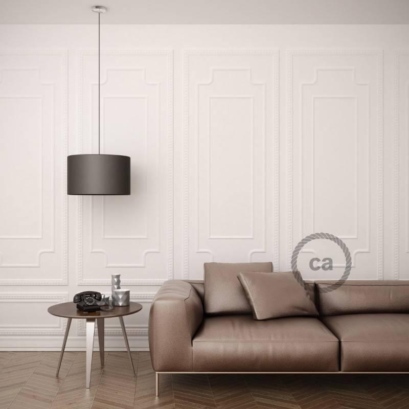 """""""Fermaluce"""" su šviesiai geltonos drobės cilindriniu šviesos gaubtu, juodo metalo, Ø 15cm aukštis 18cm, sienoms ar luboms"""