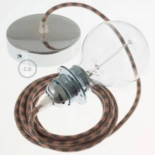 """""""Fermaluce"""" su juodos drobės cilindriniu šviesos gaubtu, vario apdailos metalo, Ø 15cm aukštis 18cm, sienoms ar luboms"""