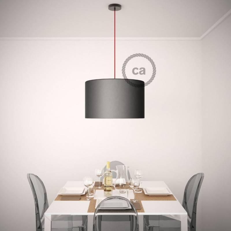 """""""Fermaluce"""" su baltos medvilnės cilindriniu šviesos gaubtu, žalvario apdailos metalo, Ø 15cm aukštis 18cm, sienoms ar luboms"""
