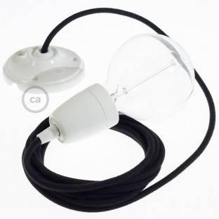 Porcelain Pendant, suspended lamp with Black Cotton textile cable RC04